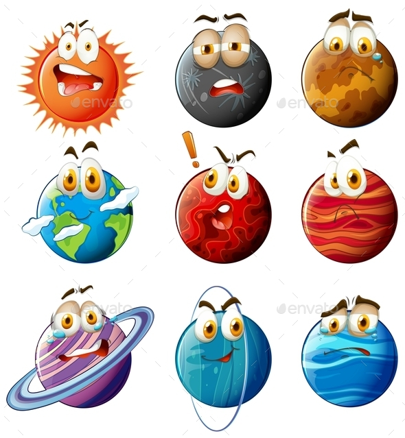 Planets with Faces on White - Miscellaneous Conceptual