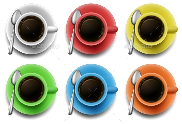 Hot Coffee in Different Color Mugs - Food Objects
