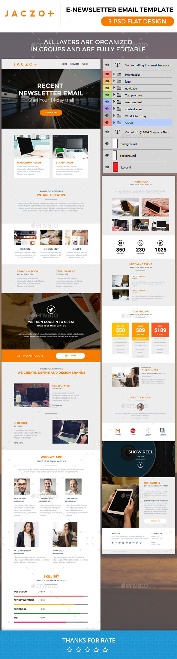 Jaczopluse Email Newsletter Psd - E-newsletters Web Elements