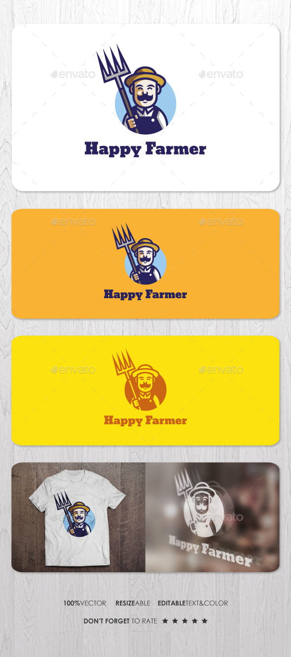 Happy Farmer Logo - Humans Logo Templates