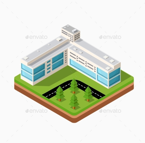 Town in Isometric - Buildings Objects