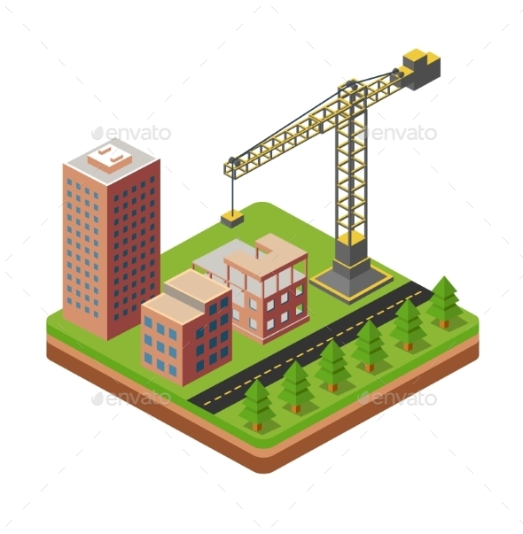 Cranes and Building Houses - Buildings Objects