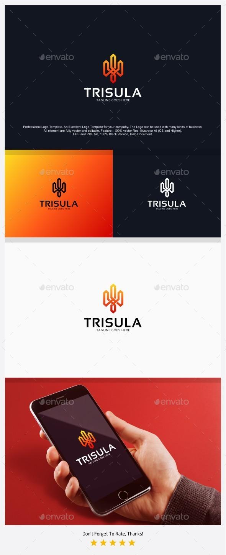 Trident - Trisula Logo - Vector Abstract