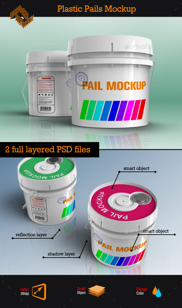 Plastic Pails Container Packaging Mockup