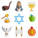 Rosh Hashana Jewish New Year Yom Kippur Icons - GraphicRiver Item for Sale