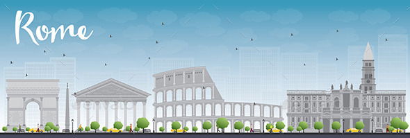 Rome Skyline with Grey Landmarks and Blue Sky - Buildings Objects