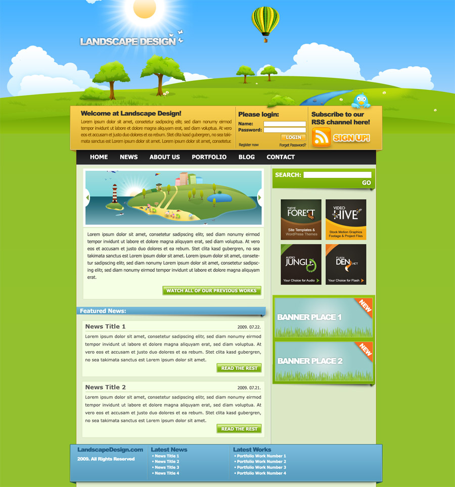 Free Download Landscape Design Drawn Style Template Nulled Latest Version