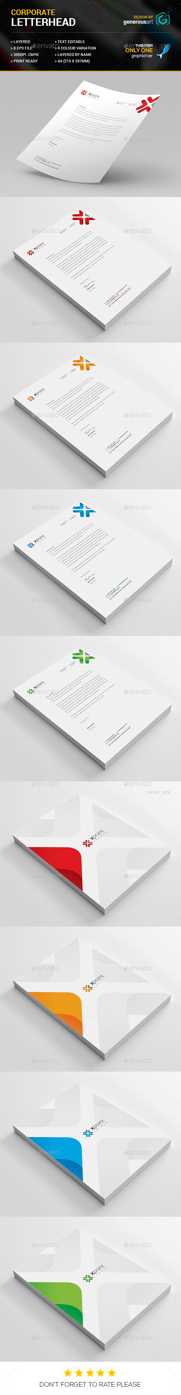 X Point Letterhead - Stationery Print Templates