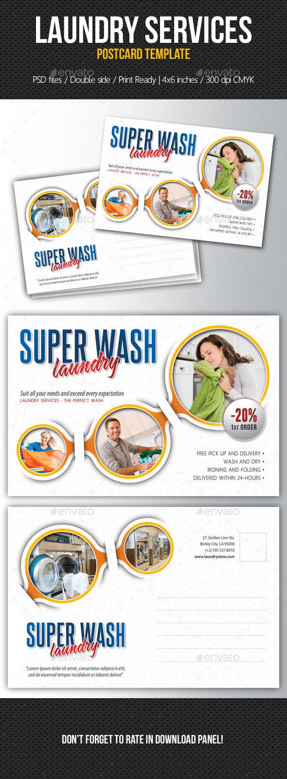 Laundry Services Postcard Template V02 - Cards & Invites Print Templates