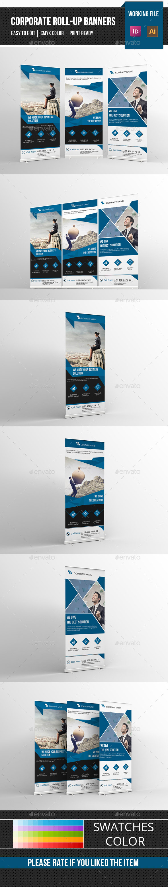 Corporate Roll Up Banner-V01 - Signage Print Templates
