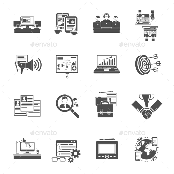 Freelance Concept Black Icons Collection  - Business Icons
