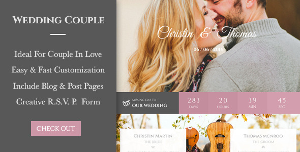 Wedding Couple - Love Page For Wedding Cerimony WP