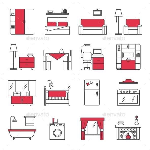 Furniture Line Icons Set  - Objects Icons