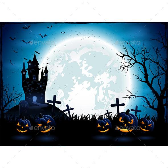 Halloween Pumpkins and Dark Castle - Halloween Seasons/Holidays
