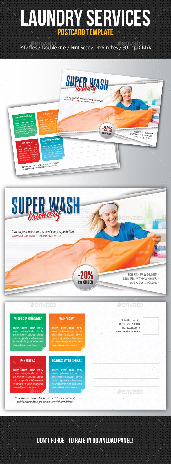 Laundry Services Postcard Template V03 - Cards & Invites Print Templates