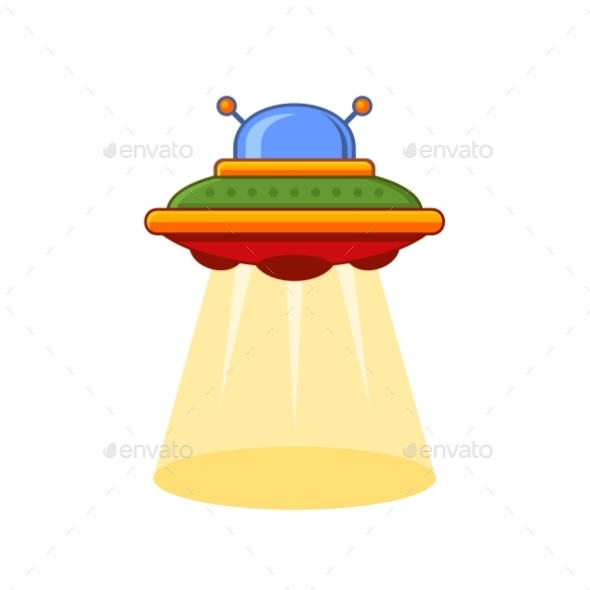Cartoon Style UFO Icon - Abstract Conceptual