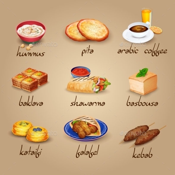 Arabic Food Icons Set  - Food Objects