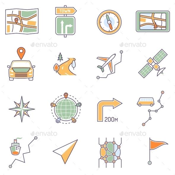 Map Icons Line - Miscellaneous Vectors