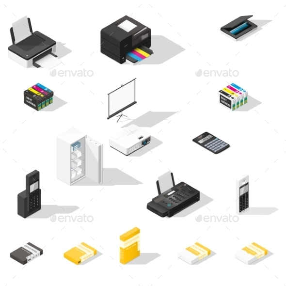 Office Detailed  Isometric Icon Set - Miscellaneous Vectors