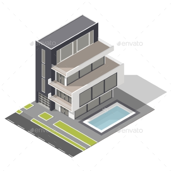 Modern Residential Building Isometric Icon Set - Buildings Objects