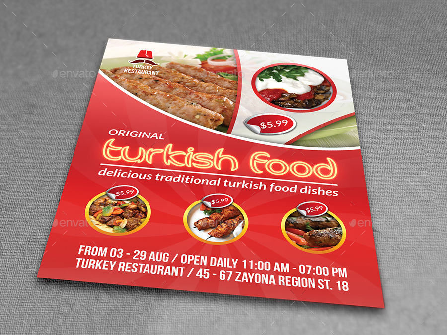 Turkish Restaurant Flyer Template By Owpictures  Graphicriver
