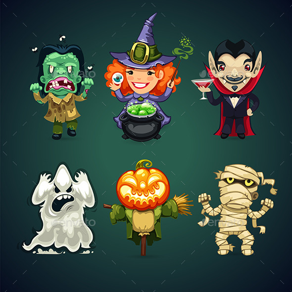 Set of Cartoon Halloween Characters - Monsters Characters