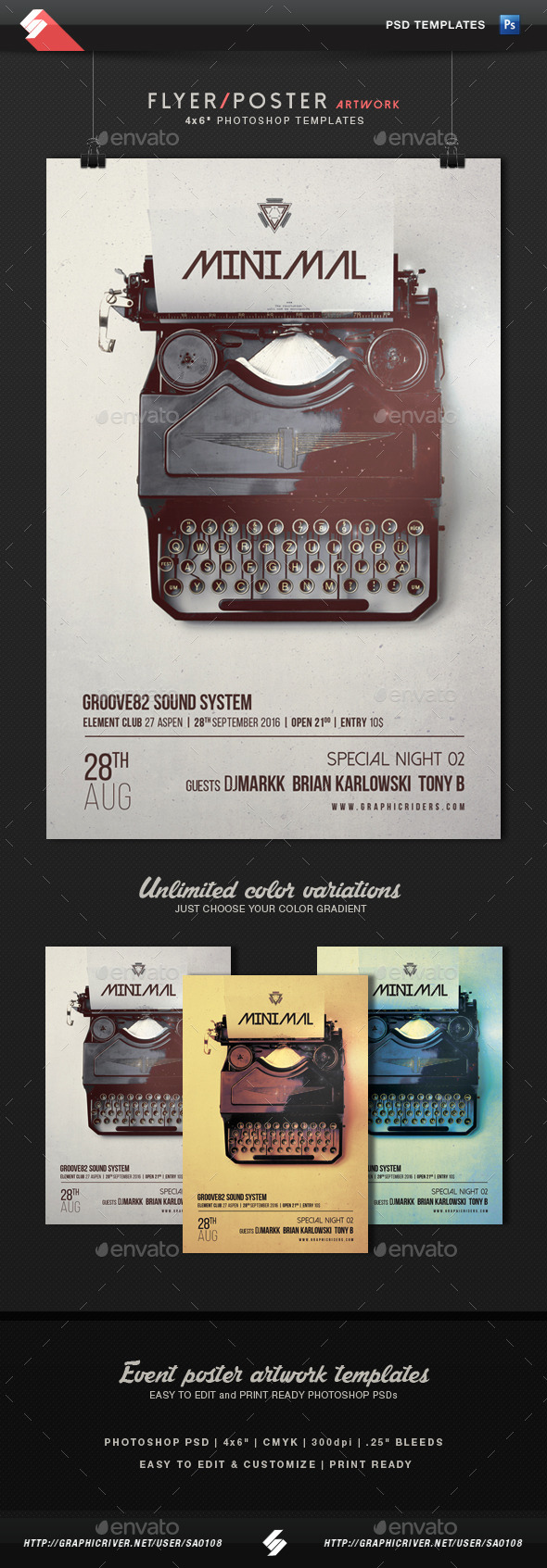 Minimal - Event Flyer Artwork Template - Clubs & Parties Events