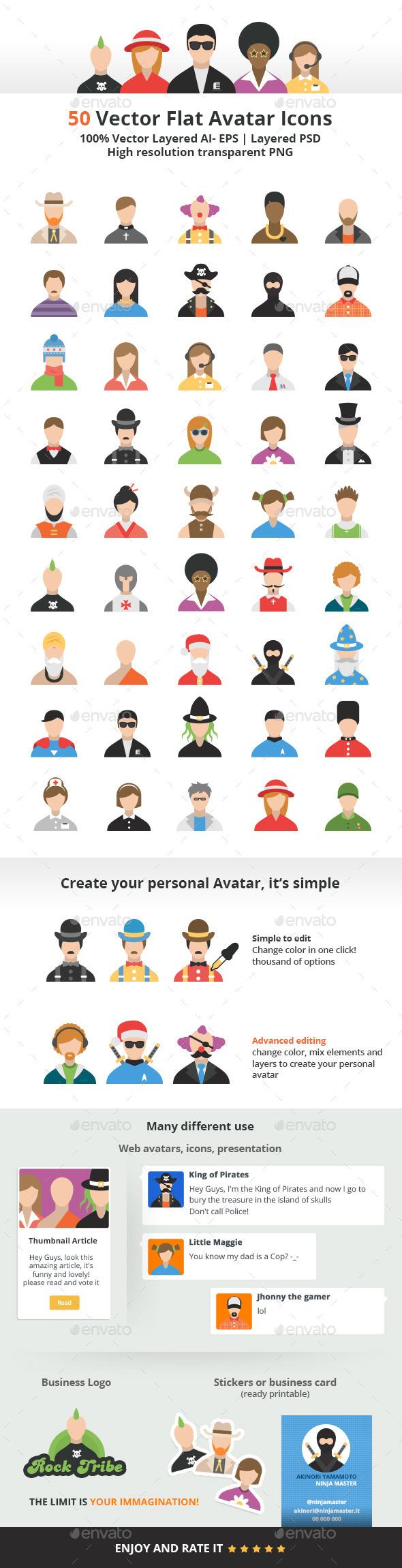 50 Vector Flat Avatars Icons