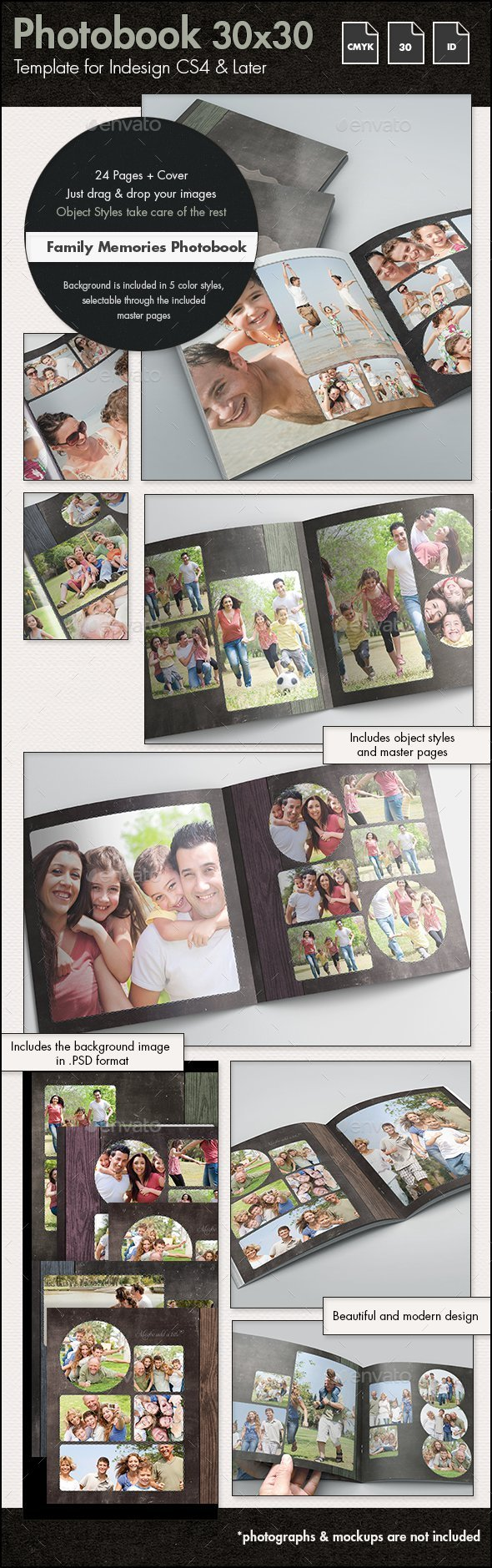Photobook Family Memories Album Template - 30x30cm - Photo Albums Print Templates
