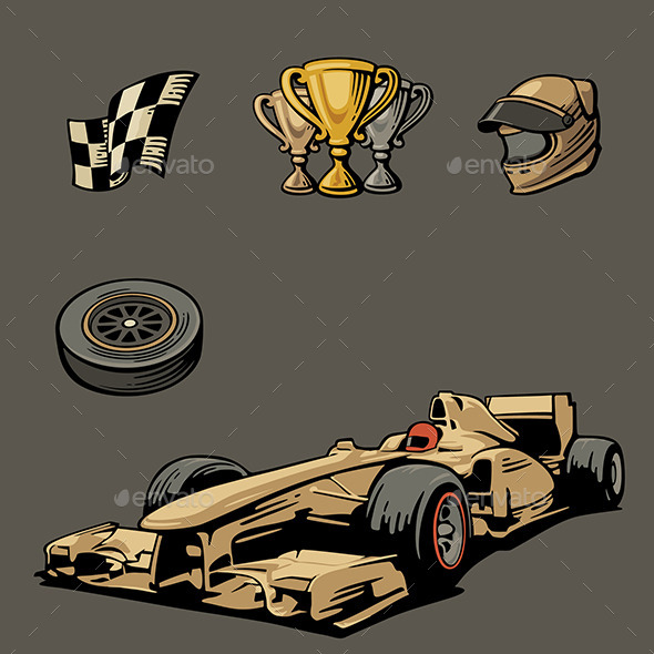 Racing Formula One Symbols - Sports/Activity Conceptual