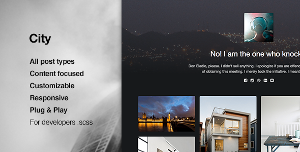 City, Responsive, High Quality Portfolio Tumblr Theme