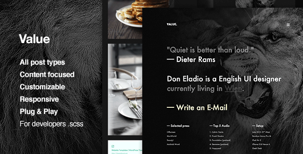 Value – Content Focus, Portfolio, Grid-based, Tumblr Theme