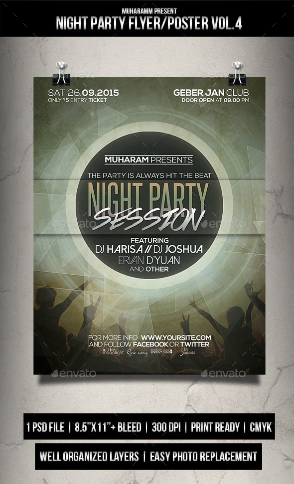 Night Party Flyer / Poster Vol.4 - Clubs & Parties Events