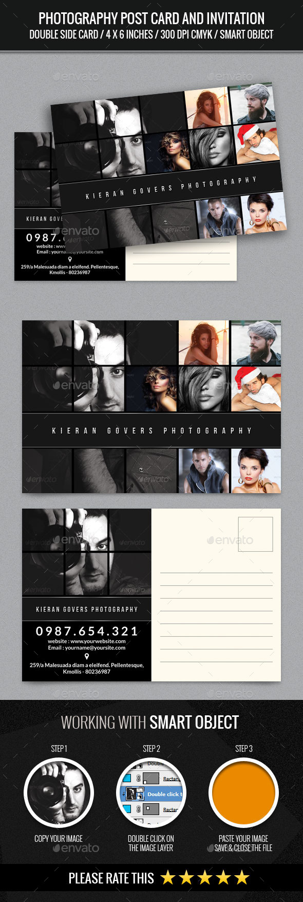 Photographer and Photography Post Card Template