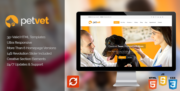 PetVet | Vet Pet Medical Responsive Site Template