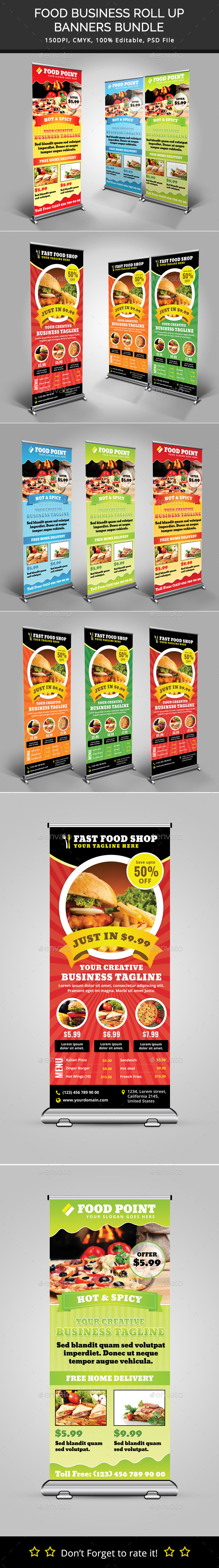Bundle of 2 Food Business Rollup Banners - Signage Print Templates