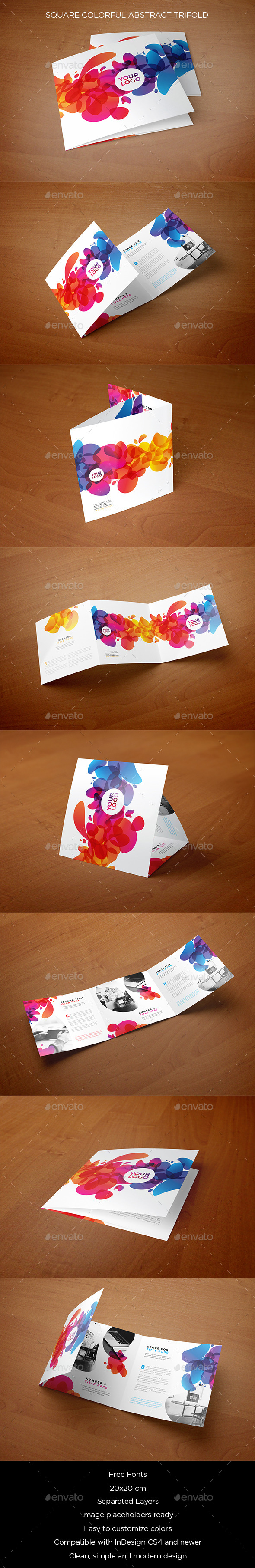 Square Colorful Abstract Trifold - Brochures Print Templates