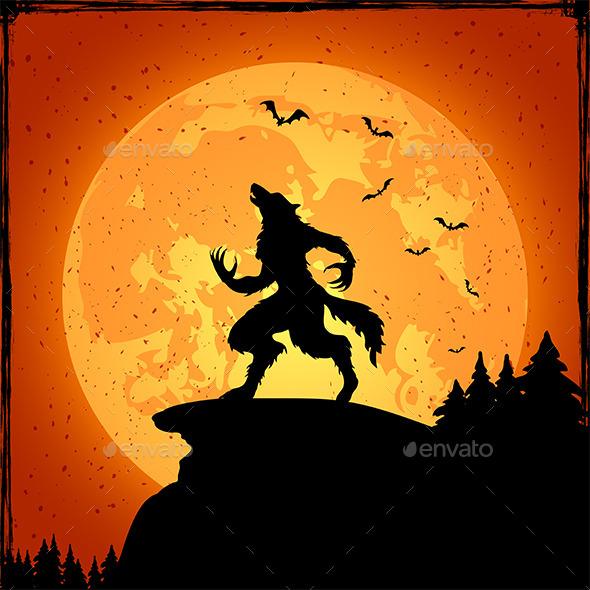 Werewolf on Orange Background - Halloween Seasons/Holidays
