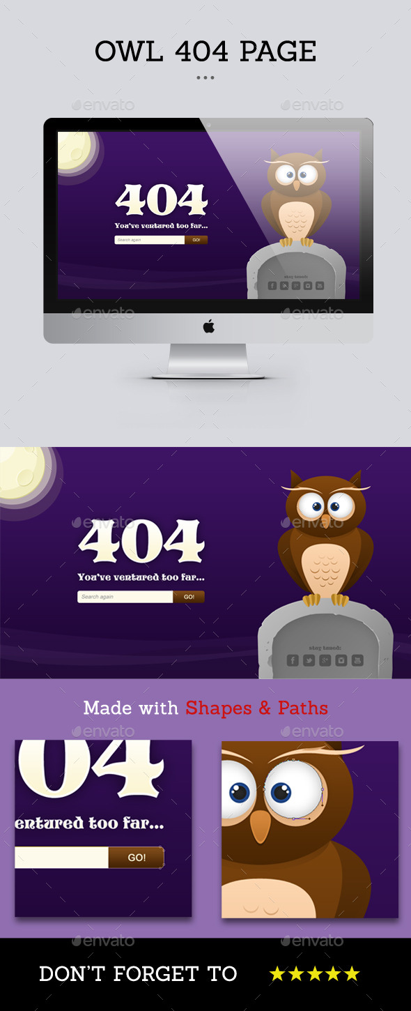 Owl - 404 Page - 404 Pages Web Elements