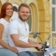 Glamorous Couple Riding a Vintage Scooter - VideoHive Item for Sale