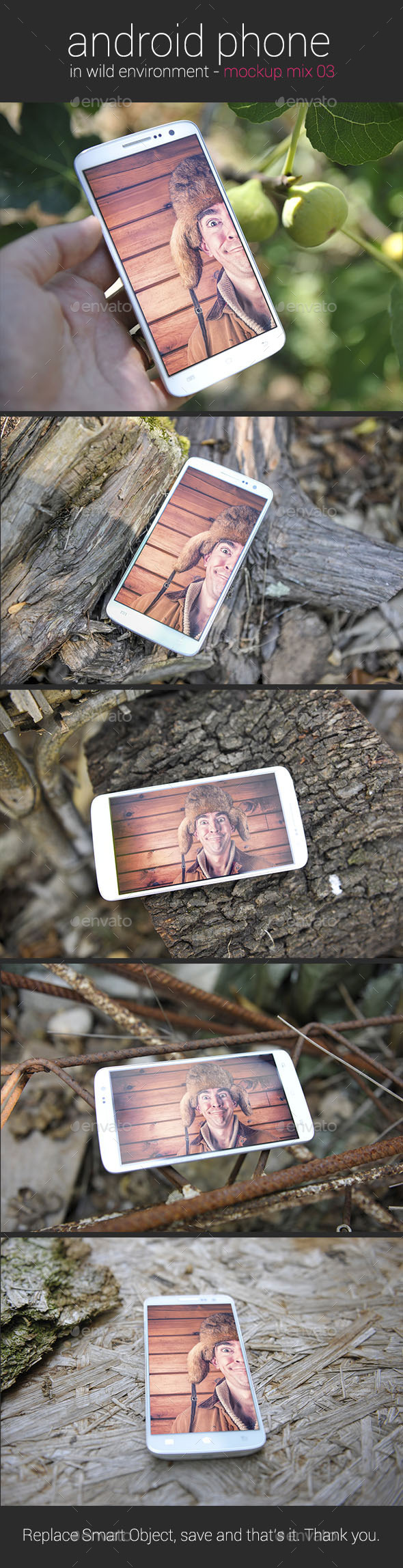 Android Phone in Wild Environment ver. 03 - Mockup - Mobile Displays