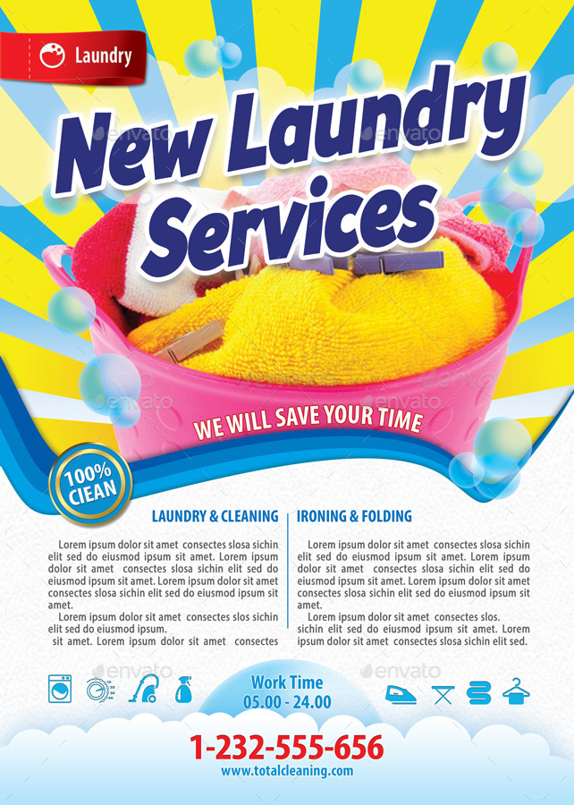 New Laundry Services Flyer Template 116 by 21min | GraphicRiver