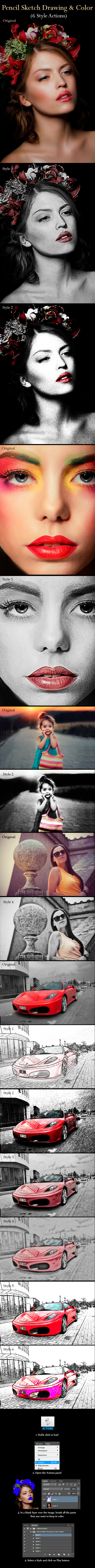 Pencil Sketch Drawing & Color Actions - Photo Effects Actions