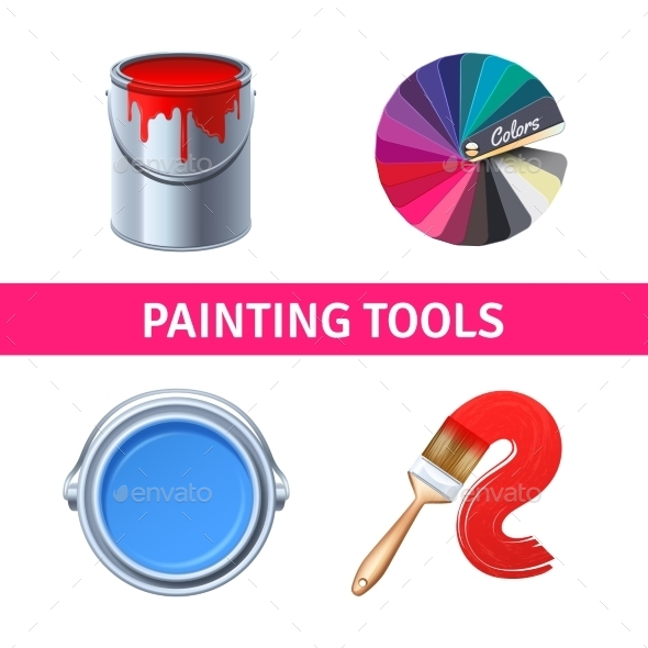 Painting Tools Realistic Set - Man-made Objects Objects