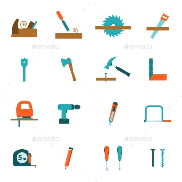 Carpentry Tools Flat Icons Set - Man-made objects Objects
