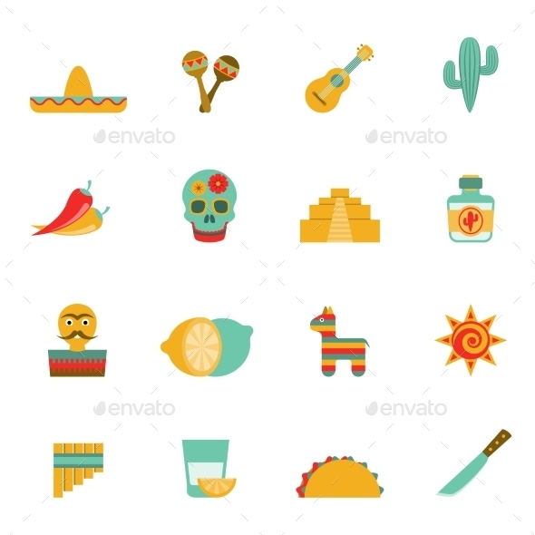 Mexican Culture Symbols Flat Icons Set By Macrovector Graphicriver