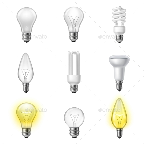 Various Types Realistic Lightbulbs Set - Man-made Objects Objects