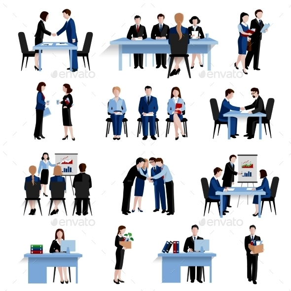 Human Resources Concept Flat Icons Set  - Concepts Business