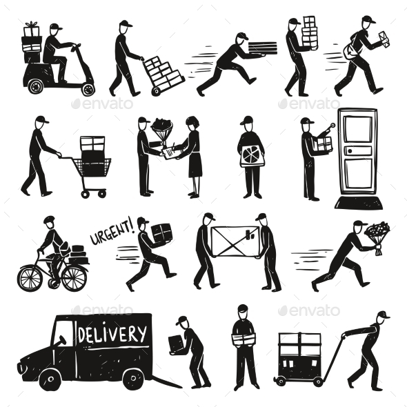 Delivery Doodle Set - Services Commercial / Shopping