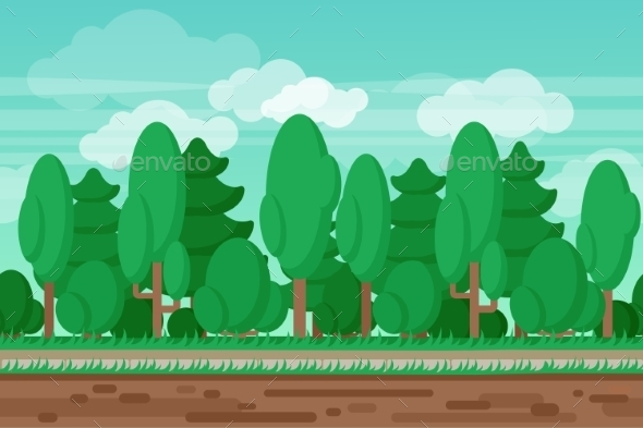 Game Seamless Summer Landscape Forest Background - Backgrounds Decorative